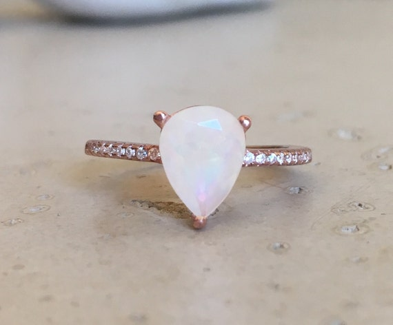 9x7mm opal ring promise ring pear shape ring gemstone by