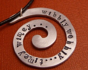 CLEARANCE - wibbly wobbly timey wimey - A Hand Stamped Aluminum Spiral Necklace