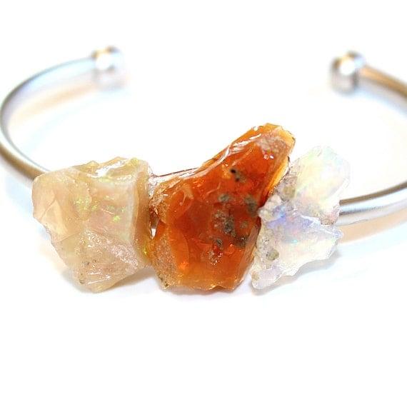 Ethiopian Opal Cuff Raw Stone Cuff Opal Bracelet Raw Opal Bracelet Boho Bracelet Boho Cuff Stacking Bangle Modern Bracelet