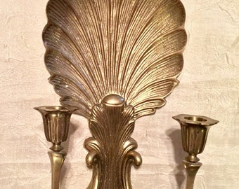 Vintage Large Heavy Solid Brass Victorian Shell Shape Wall Hanging Sconce or Candle Holder