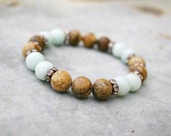 Beaded Bracelet - Yoga Beaded Stretch Bracelet - Amazonite