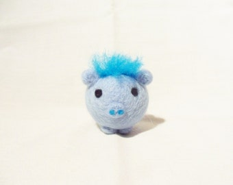 Needle Felted Pig -  miniature blue pig figure - 100% merino wool - Pig With Attitude - blue pig - felt pig