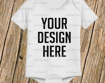 Baby Bodysuit Mock Up - Short sleeve one piece baby shirt - Add your design - INSTANT Download