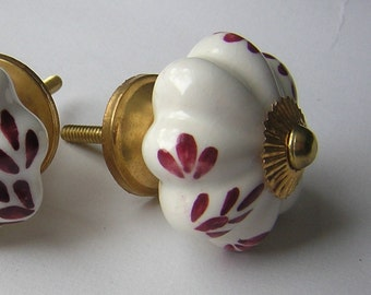 2 Ceramic Knobs Drawer Pull with Dark Red Leaves - Pair of Decorative Cabinet Knob for Furniture Refinishing or Woodworking