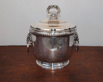 Vintage Silver Plated Lion Head Ice Bucket with Insert