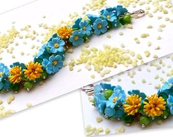 Flower Bracelet, Forget Me Not, Wedding Bracelet, Blue Jewelry, Flower Jewelry, Handmade Bracelet, Romantic Jewelry, Gift For Her, Dandelion