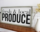 Fresh and Local Produce Wood Sign, Housewarming Gift, Contemporary, Country Decor, Farmhouse Decor