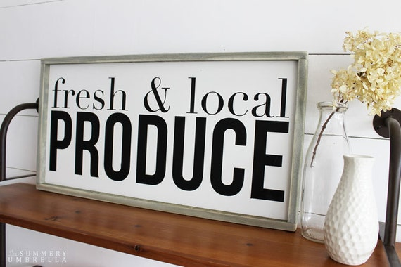 Items Similar To Fresh And Local Produce Wood Sign