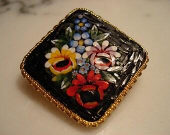 Italian Black Micro Mosaic Floral Brooch