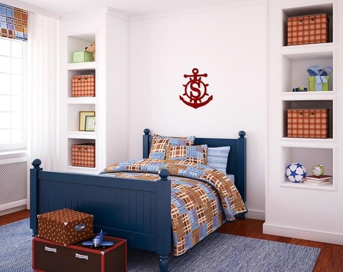 Door Monogram, Wooden Anchor, Monogrammed Anchor, Wooden Letter, Monogrammed Door, Beach Monogram, Boy's Room, Monogrammed Boy