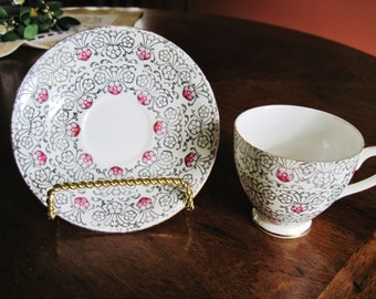 English Castle Cup and Saucer Bone China Staffordshire England