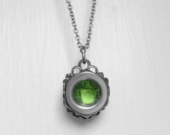Stainless Steel Necklace, Hex Nut Jewelry, Light Green, Non Tarnish, Customizable Color Center
