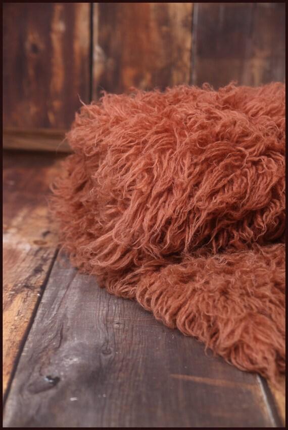 Wool Flokati Rug Copper Newborn Baby Children Photo Prop 5