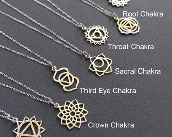 7 Chakra Sterling Silver Charm Necklace,