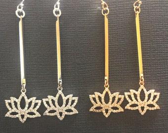 Lotus Earrings, Dangling Lotus earrings, Simple Zen Yoga Jewelry long earrings, lotus charm earrings, Tiny Lotus Earrings, Gold Earrings