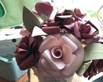 Paper flower bouquet, flower arrangement, paper flowers in vase, paper flower centerpiece