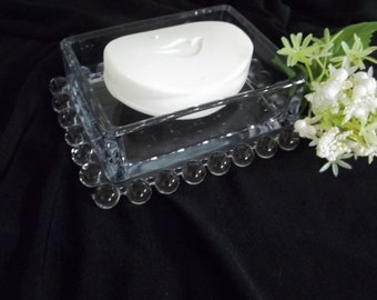 Boopie glass soap dish, candy or trinket dish, bubble ball glass, small rectangular dish can be used as kitchen, bath or vanity organizer