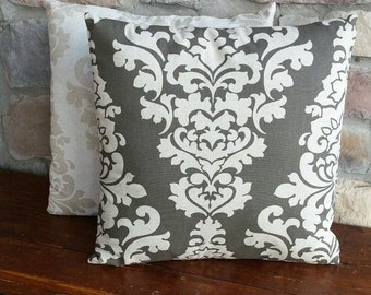 Natural & Chocolate Brown Damask Print Cotton Pillow Cover