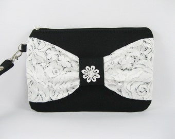 SUPER SALE - Black with White Lace Bow Clutch - Bridal Clutches, Bridesmaid Wristlet, Wedding Gift - Made To Order