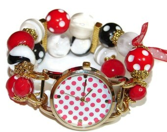 Gold and Polka Dots Chunky Beaded Watch - Interchangeable Watch - BeadsnTime - Unique Watch - Bracelet Watch-Red, Black n White Beaded Watch