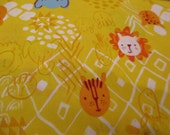 Quilting Weight ORGANIC Cotton African Fabric Serengeti Beasties in Light Gold designed by Alyssa Thomas for Clothworks 1 yard