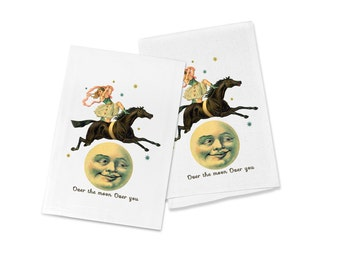 """100% Cotton Flour Sack Chef's Kitchen Dish Towel Vintage """"Over the Moon"""" Beautiful Circus Girl on Horse Great Hostess Gift (one towel)"""