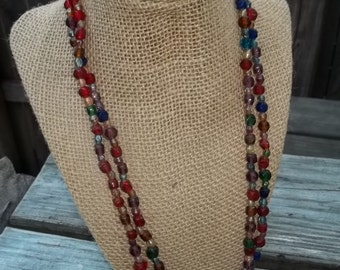 Multicolored Heavy Glass Bead Necklace Long Blue Red Pierced Earrings 3 Piece Set