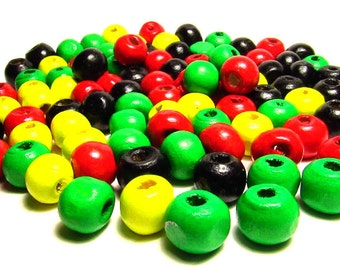 100 Mixed Wood Beads 8mm Beads - Rasta Colors - Red Black Green Yellow Bead - Assorted Beads