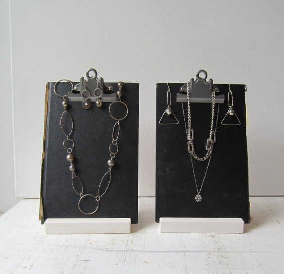Two Black Clipboard Book Jewelry Displays Modern Necklace - photo#31