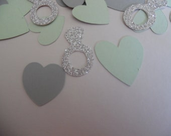 Wedding confetti-  Silver ring confetti- Bridal Shower confetti- ring and heart confetti