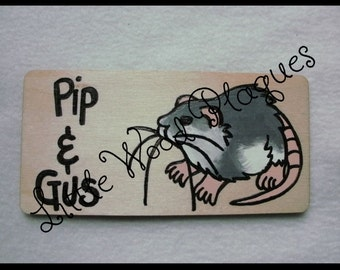 Handmade wooden personalised *Rat* cage sign/plaque