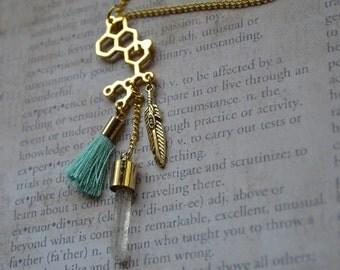 Biolojewelry - LSD Molecule Feather Tassel Quartz Crystal Necklace