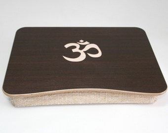 Breakfast Tray / iPad Table / Wooden Laptop Bed Tray / Pillow Tray / Serving Tray / Laptop Stand with Om / Hinduism Themed Inlay