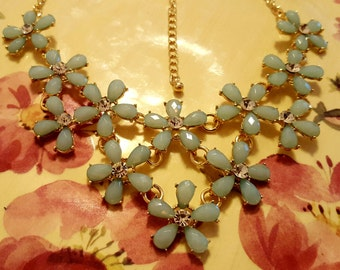Necklace - Mint Crystal Rhinestone Flowered Bib Style Statement Adjustable Gold Chain Necklace