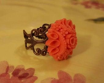 RING: Striking Adjustable Ring Orange Salmon Flower Cabochon on a Copper Filigree Adjustable Setting