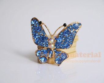 1pcs 70x60mm Bling blue Crystal Butterfly Flatback Alloy jewelry accessories materials supplies