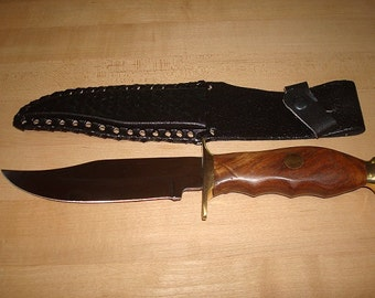 Genuine Wood Handle Hunting Knife / Bowie Knife With Black Leather Sheath 10 1/2""