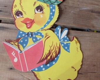 Vintage Easter Decoration Spring Chick Die Cut Dennison