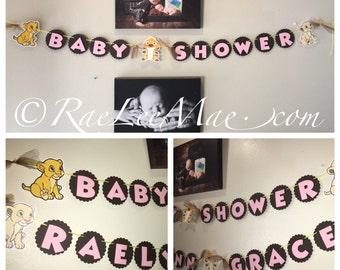 Lion King Baby Shower Banner or Birthday Banner, its a girl banner, welcome baby banner, happy birthday banner, lion king theme party banner