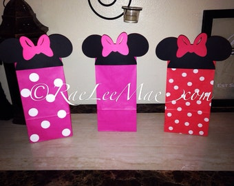 Minnie Mouse Inspired Favor Bags, Goody Bags, Loot Bags, Minnie Mouse Party Bags, Gift Bags, Minnie Mouse treat bags,