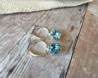 Sterling silver Aquamarine Crystal earrings - March birthstone