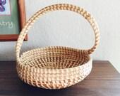 Sweetgrass Basket Woven / Medium Handled Vintage Carolina Sweetgrass Basket