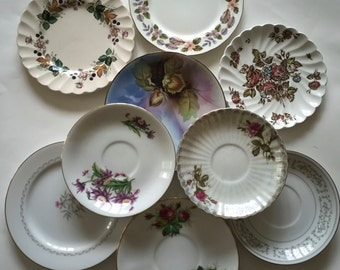 Mismatched Plates / Vintage Lilac & Pink China Plates for Plate Wall Hanging, or Serving at Showers, Tea Parties, Luncheons, etc.