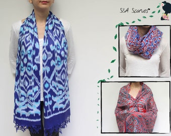 2016 Summer, Cotton Summer Scarf, Summer Blue Scarf, Summer Long Wrap, Spring Scarf Cotton, Bathing Suit Wrap, Blue Shawl Spring, Red Tops