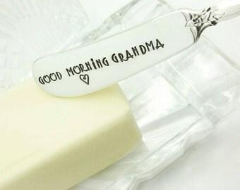 Good Morning Grandma Butter Spreader, Butter Knife Jelly Spreader, Jam Spreader,  Gift for Grandma, Gift for Nana, Gift for Oma