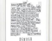 Denver Neighborhood Map Wall Art Print