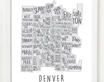 Denver Neighborhood Map | Colorado | Wall Art Print Design