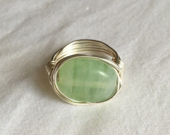 Mint Green Ring // Wire Wrapped Silver Ring // Wire Wrapped Green Gemstone Ring // Light Green Ring // Silver and Green Ring