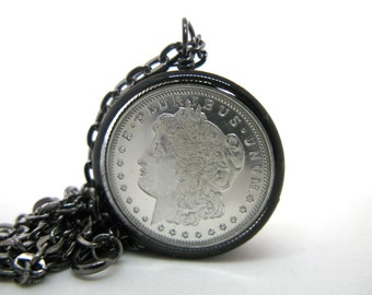 Morgan Dollar Silver - Genuine 1/4 oz. Silver Round in open back black copper bezel - Resin Necklace - Resin Jewelry - Copper Pipe Jewelry