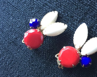 Red, White & Blue Vintage Clip-on Earrings